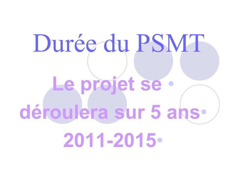 Le projet se déroulera sur 5 ans 2011-2015