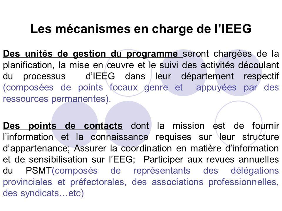 Les mécanismes en charge de l'IEEG