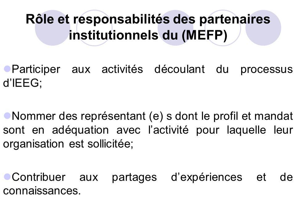 Rôle et responsabilités des partenaires institutionnels du (MEFP)