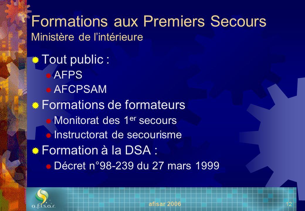 Formations aux Premiers Secours Ministère de l'intérieure