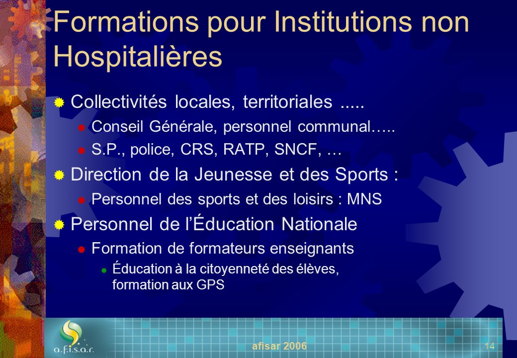 Formations pour Institutions non Hospitalières