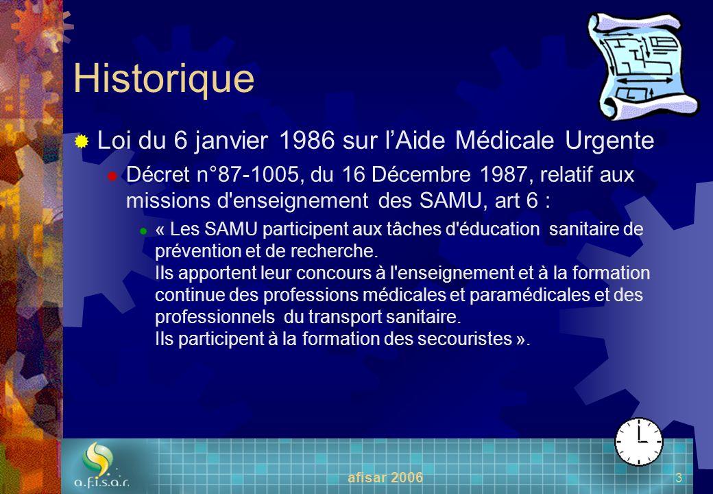 Historique Loi du 6 janvier 1986 sur l'Aide Médicale Urgente