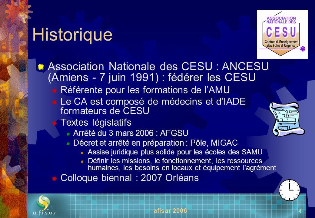 Historique Association Nationale des CESU : ANCESU (Amiens - 7 juin 1991) : fédérer les CESU. Référente pour les formations de l'AMU.