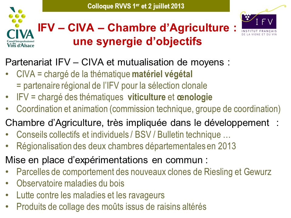 IFV – CIVA – Chambre d'Agriculture : une synergie d'objectifs