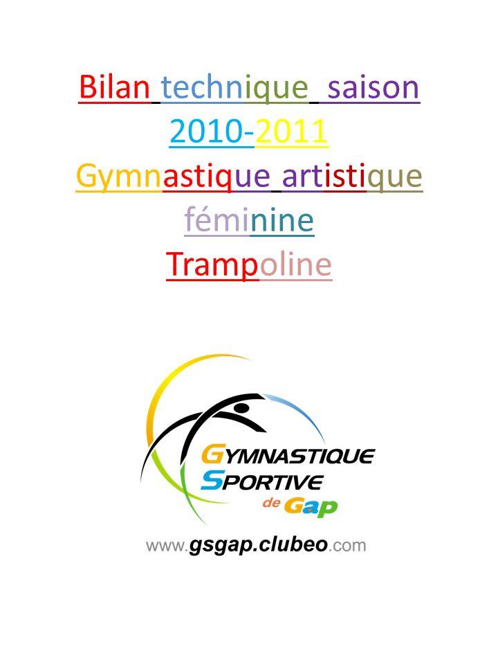 Bilan technique saison 2010-2011 Gymnastique artistique féminine Trampoline