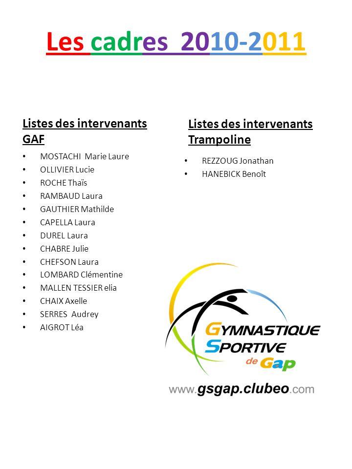 Les cadres 2010-2011 Listes des intervenants GAF