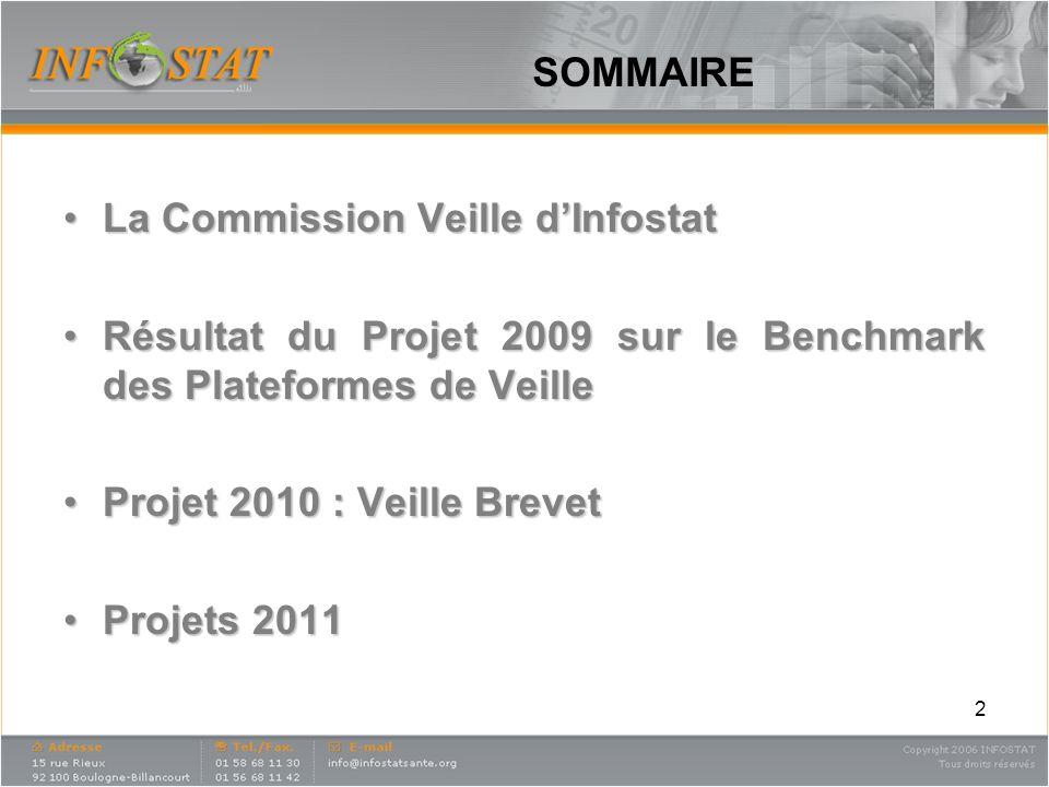 SOMMAIRE La Commission Veille d'Infostat. Résultat du Projet 2009 sur le Benchmark des Plateformes de Veille.