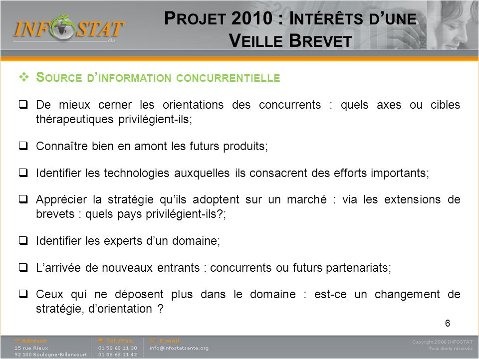 Projet 2010 : Intérêts d'une Veille Brevet