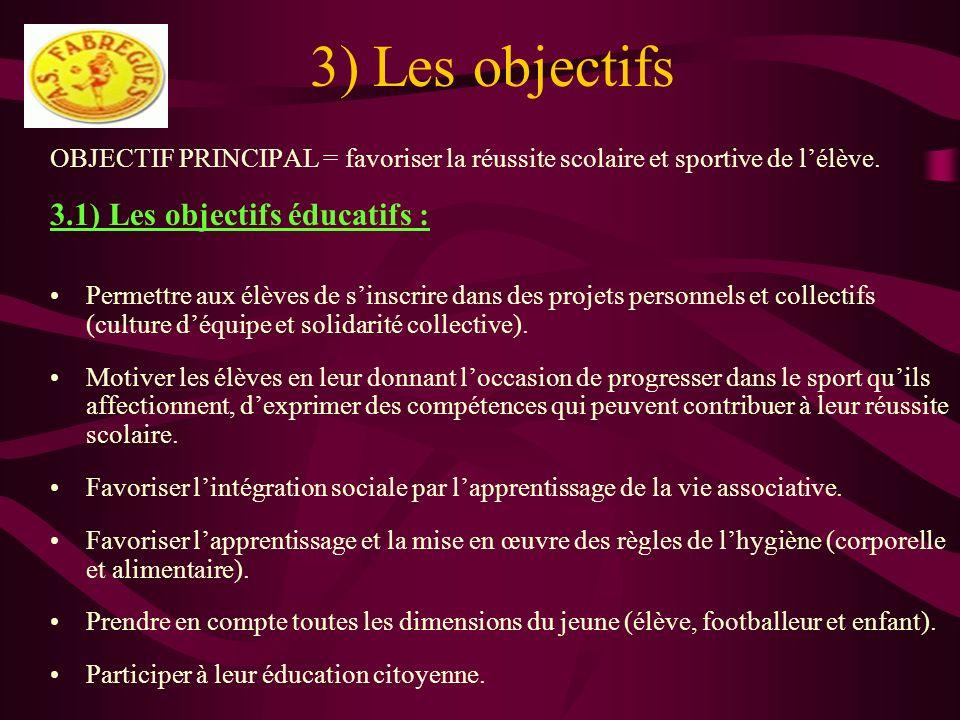 3) Les objectifs 3.1) Les objectifs éducatifs :
