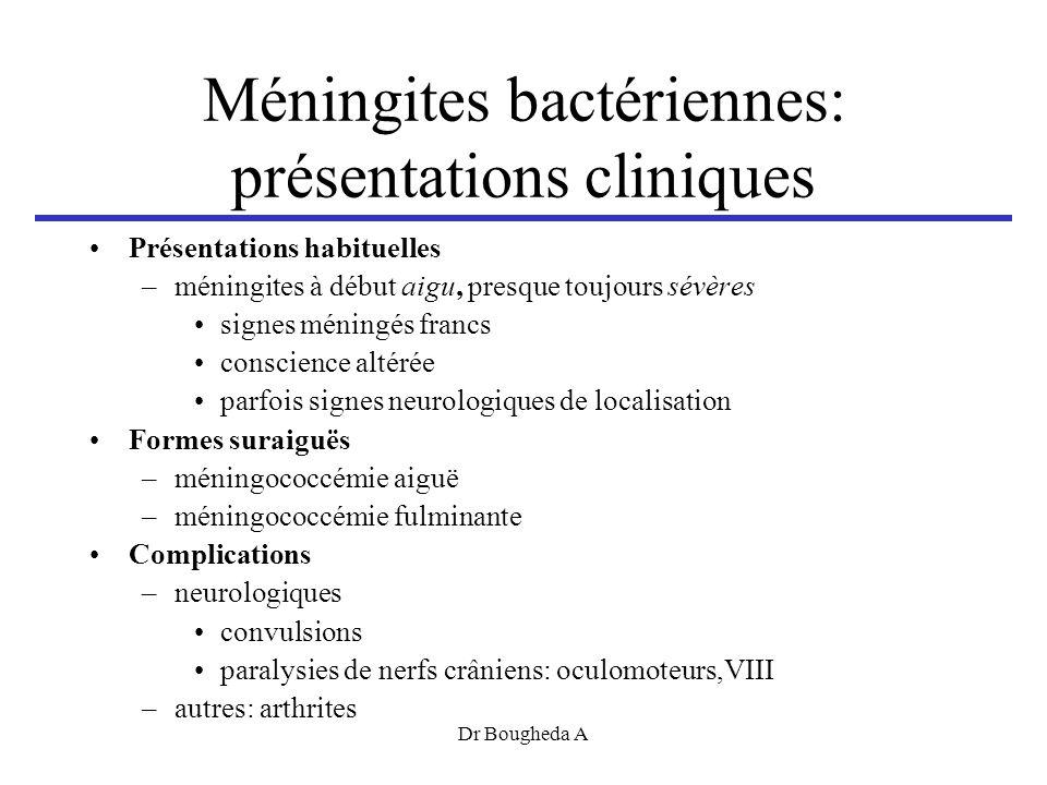 Méningites bactériennes: présentations cliniques