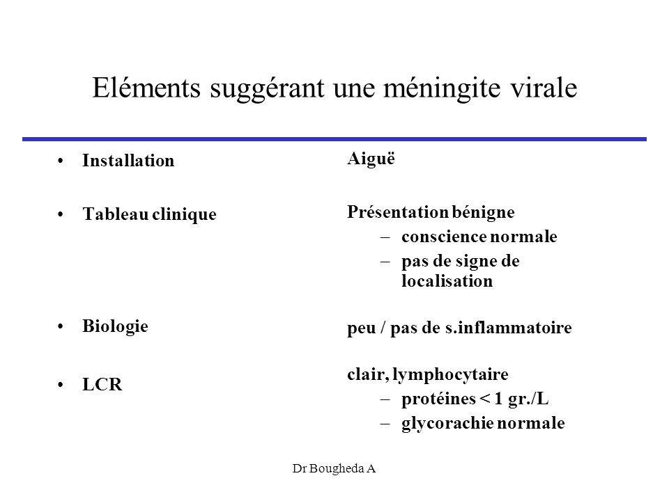 Eléments suggérant une méningite virale