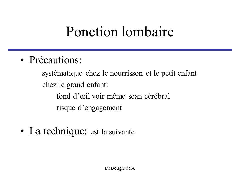 Ponction lombaire Précautions: La technique: est la suivante