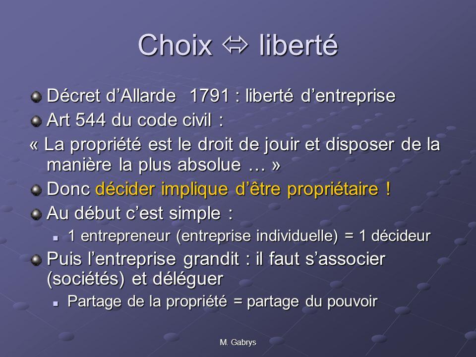 Choix  liberté Décret d'Allarde 1791 : liberté d'entreprise