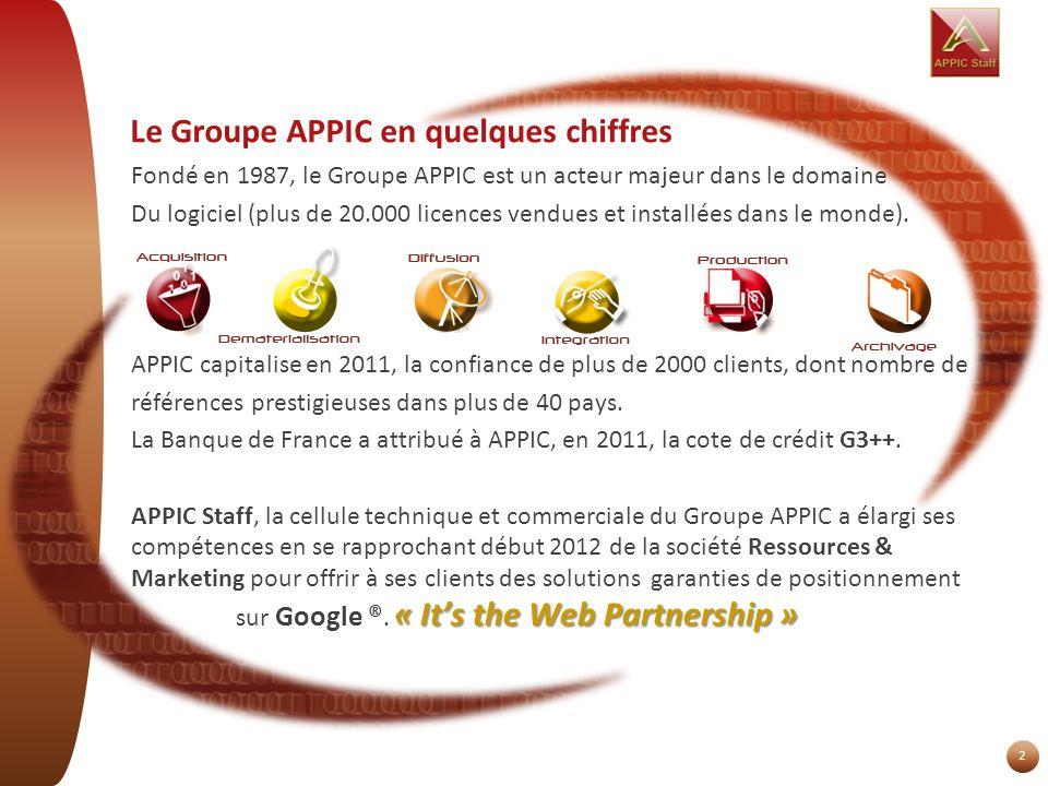 Le Groupe APPIC en quelques chiffres