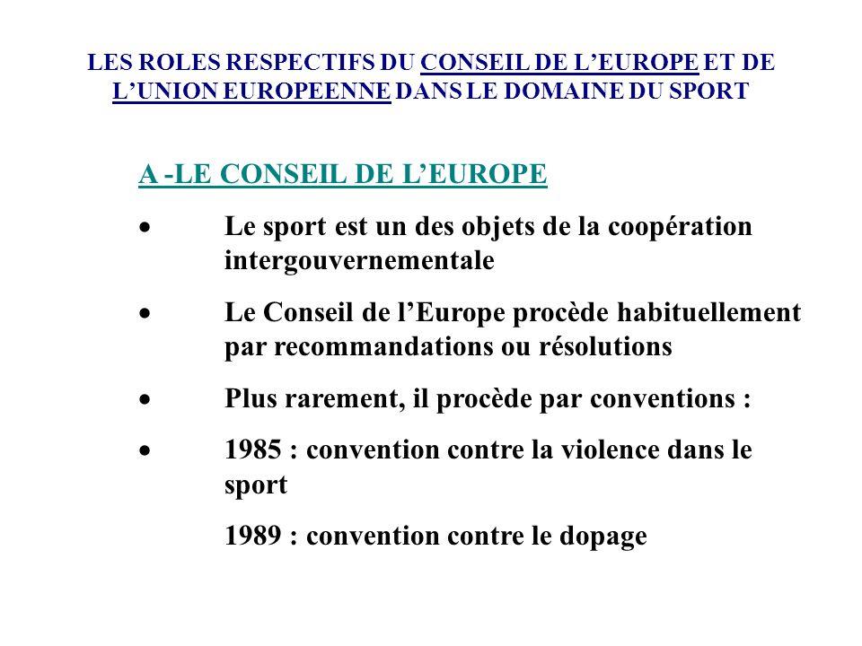 A -LE CONSEIL DE L'EUROPE