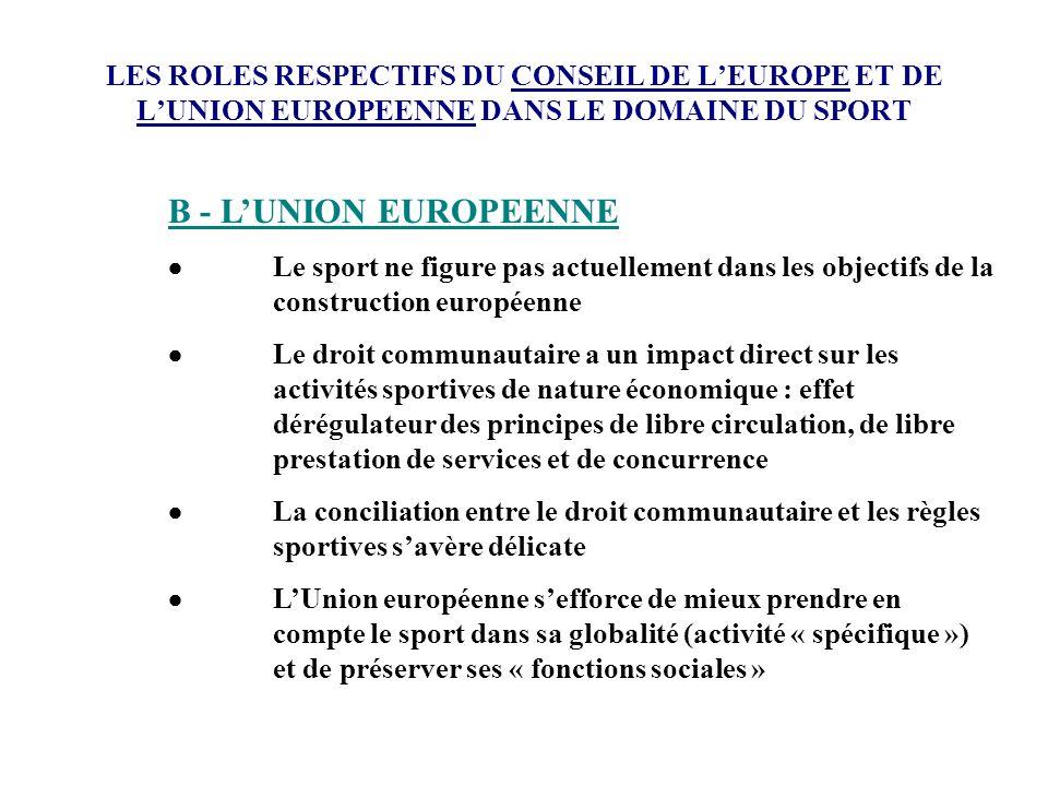 LES ROLES RESPECTIFS DU CONSEIL DE L'EUROPE ET DE L'UNION EUROPEENNE DANS LE DOMAINE DU SPORT