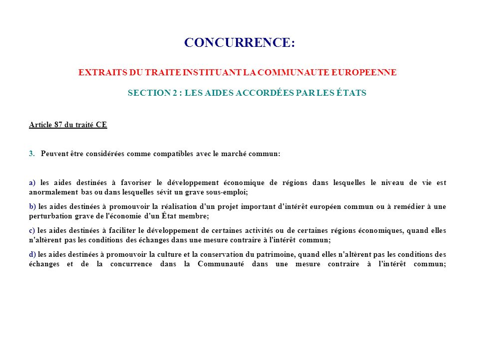CONCURRENCE: EXTRAITS DU TRAITE INSTITUANT LA COMMUNAUTE EUROPEENNE