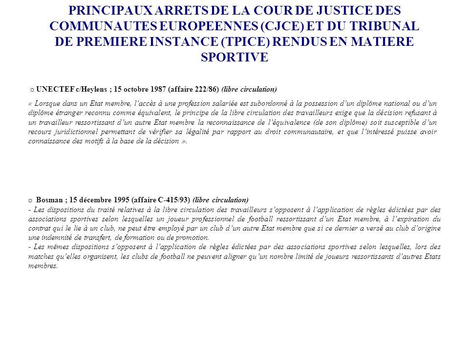 PRINCIPAUX ARRETS DE LA COUR DE JUSTICE DES COMMUNAUTES EUROPEENNES (CJCE) ET DU TRIBUNAL DE PREMIERE INSTANCE (TPICE) RENDUS EN MATIERE SPORTIVE