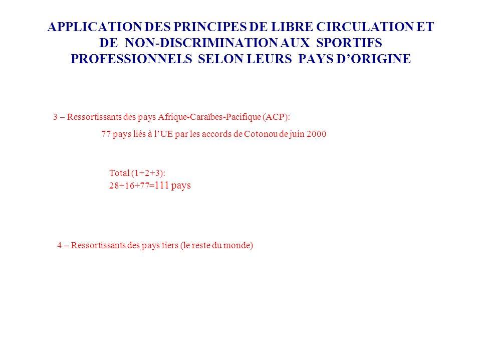 APPLICATION DES PRINCIPES DE LIBRE CIRCULATION ET DE NON-DISCRIMINATION AUX SPORTIFS PROFESSIONNELS SELON LEURS PAYS D'ORIGINE