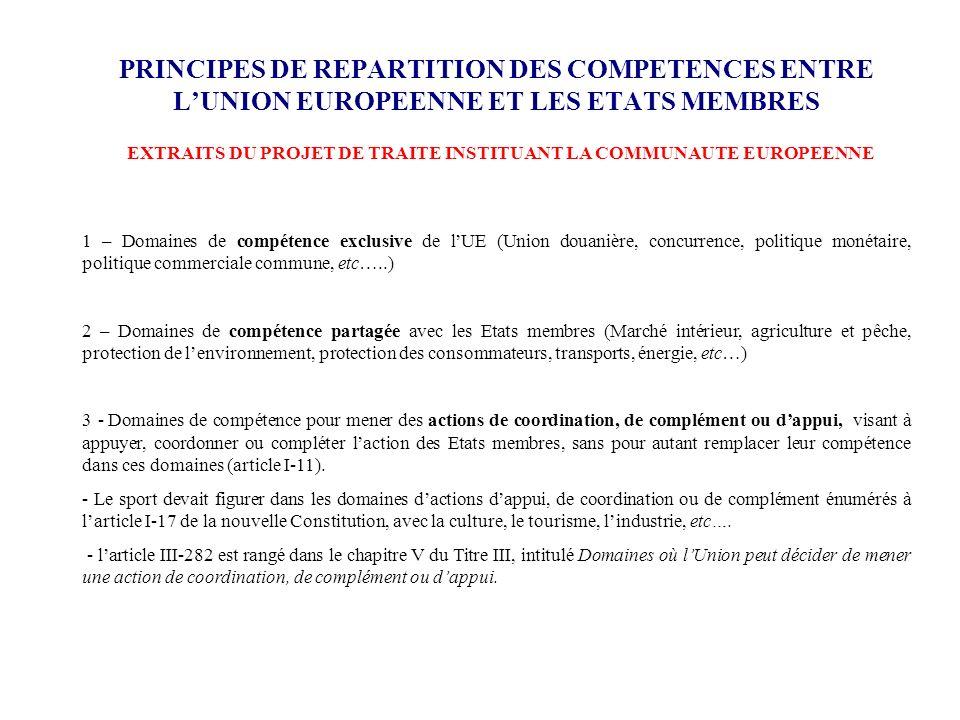 EXTRAITS DU PROJET DE TRAITE INSTITUANT LA COMMUNAUTE EUROPEENNE