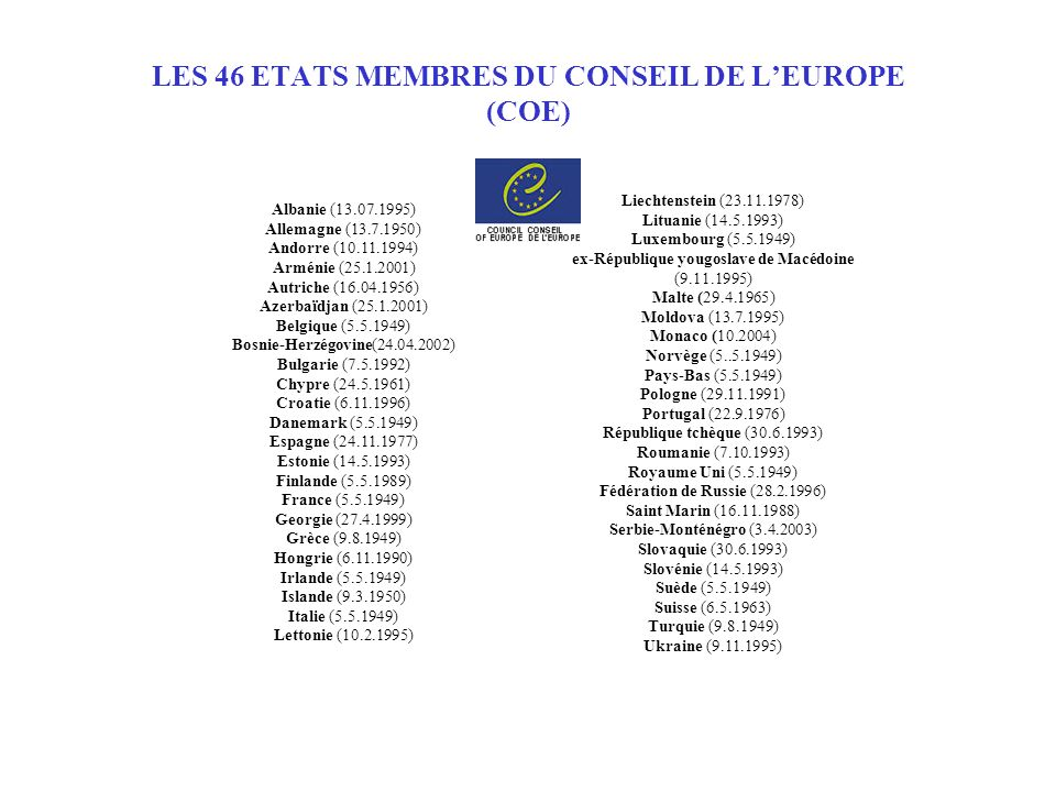 LES 46 ETATS MEMBRES DU CONSEIL DE L'EUROPE (COE)