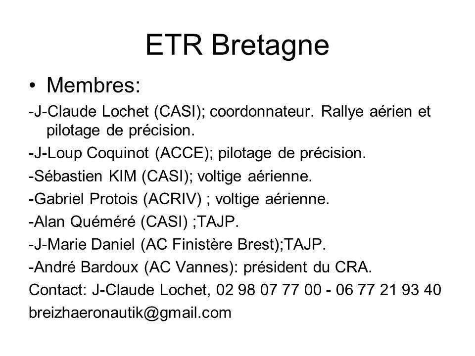 ETR Bretagne Membres: -J-Claude Lochet (CASI); coordonnateur. Rallye aérien et pilotage de précision.