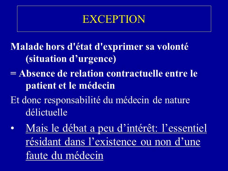 EXCEPTION Malade hors d état d exprimer sa volonté (situation d'urgence) = Absence de relation contractuelle entre le patient et le médecin.
