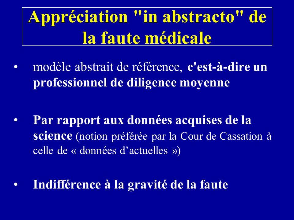 Appréciation in abstracto de la faute médicale