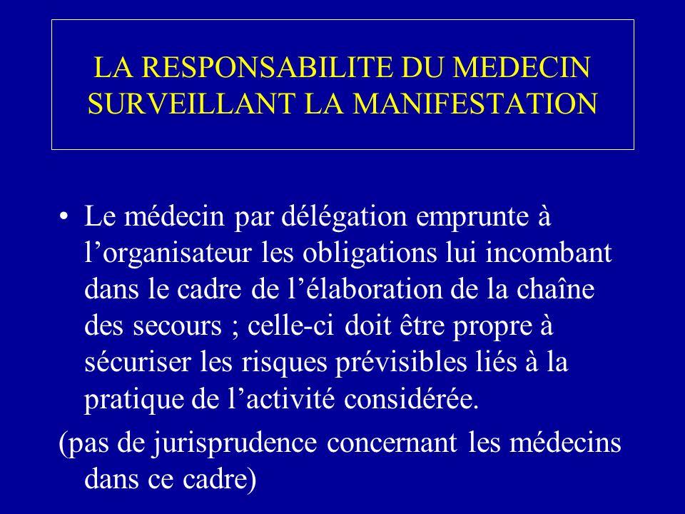 LA RESPONSABILITE DU MEDECIN SURVEILLANT LA MANIFESTATION