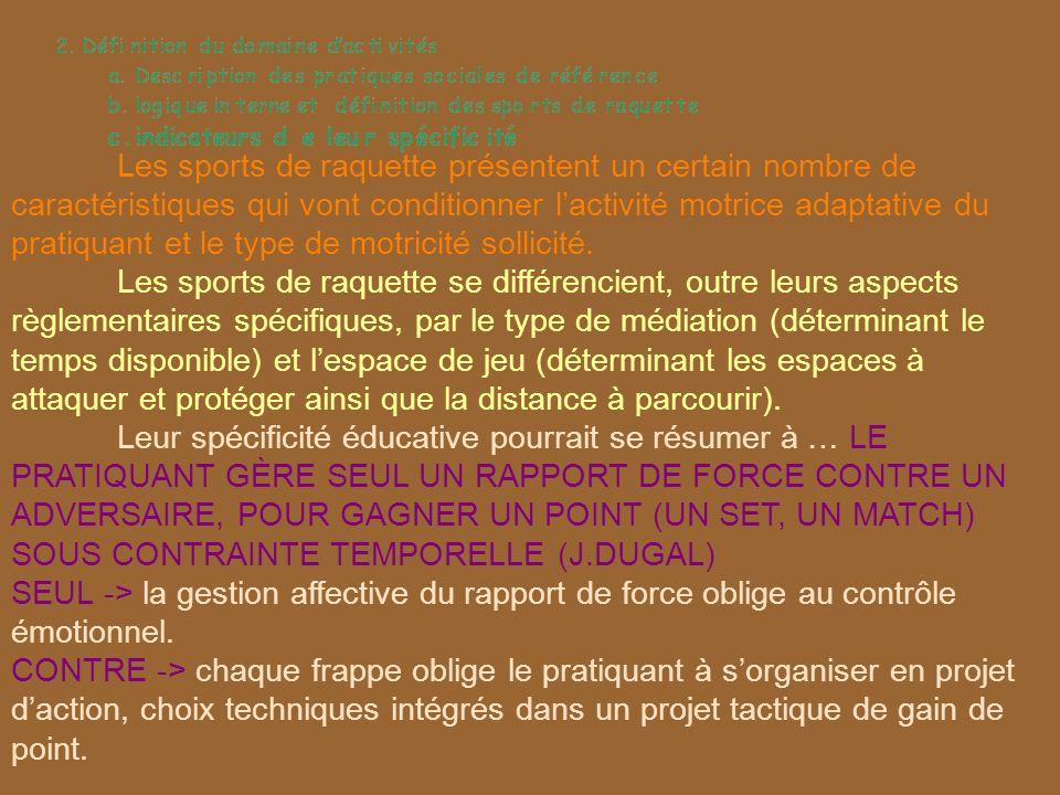 Les sports de raquette présentent un certain nombre de caractéristiques qui vont conditionner l'activité motrice adaptative du pratiquant et le type de motricité sollicité.