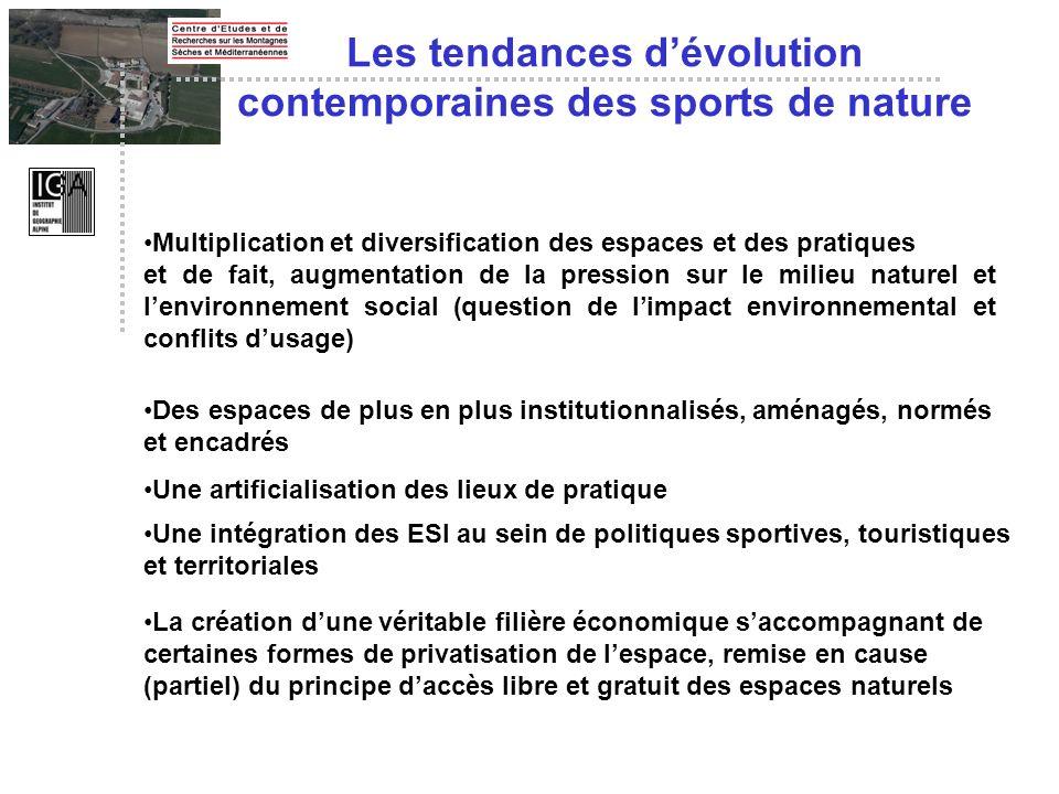 Les tendances d'évolution contemporaines des sports de nature