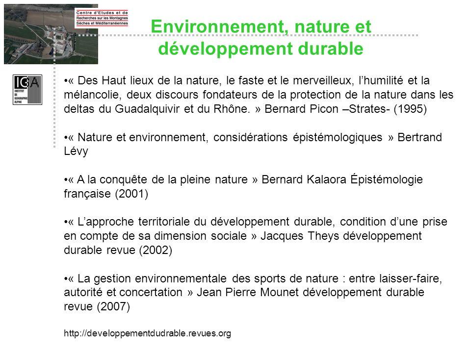 Environnement, nature et développement durable