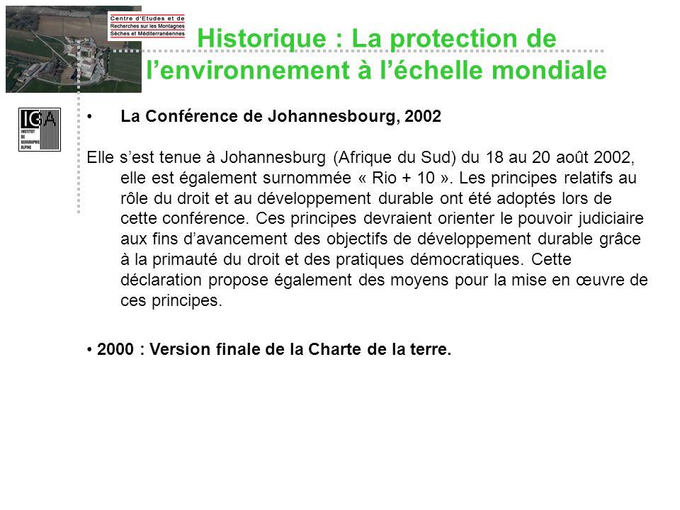 Historique : La protection de l'environnement à l'échelle mondiale