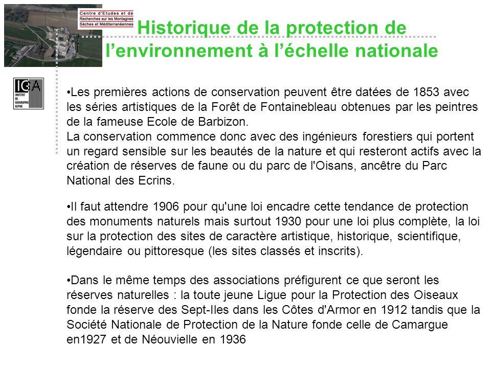 Historique de la protection de l'environnement à l'échelle nationale