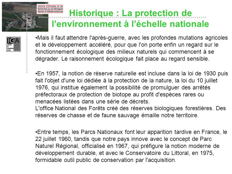 Historique : La protection de l'environnement à l'échelle nationale