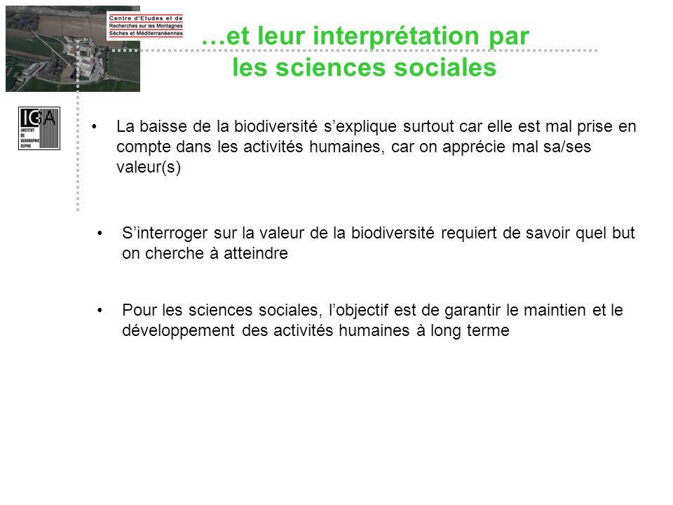…et leur interprétation par les sciences sociales