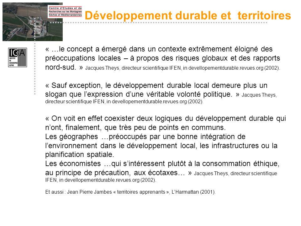 Développement durable et territoires