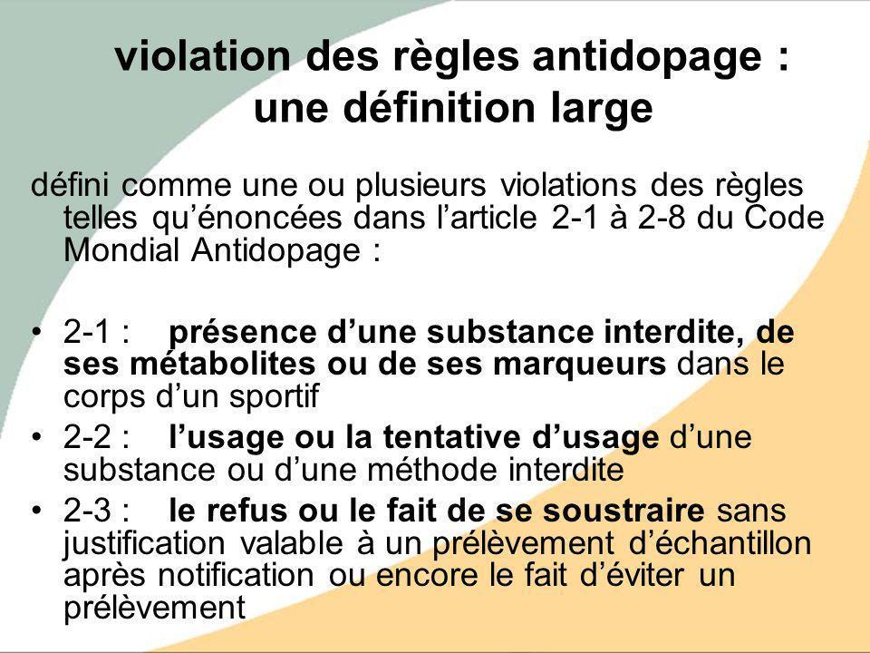 violation des règles antidopage : une définition large