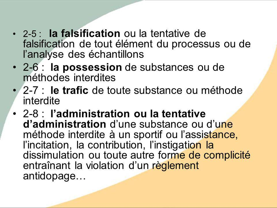 2-6 : la possession de substances ou de méthodes interdites