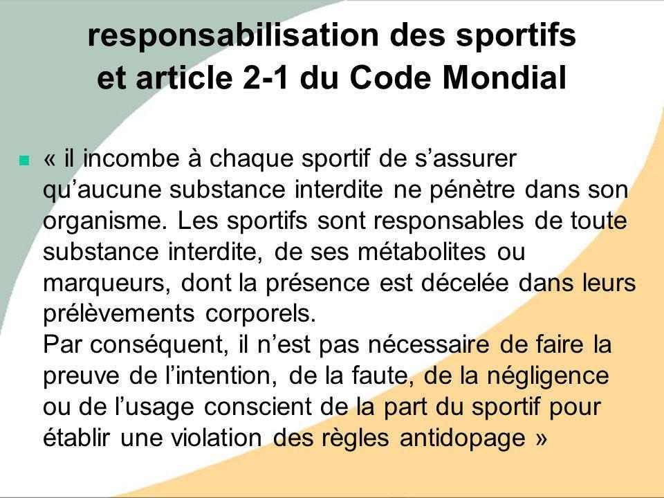 responsabilisation des sportifs et article 2-1 du Code Mondial