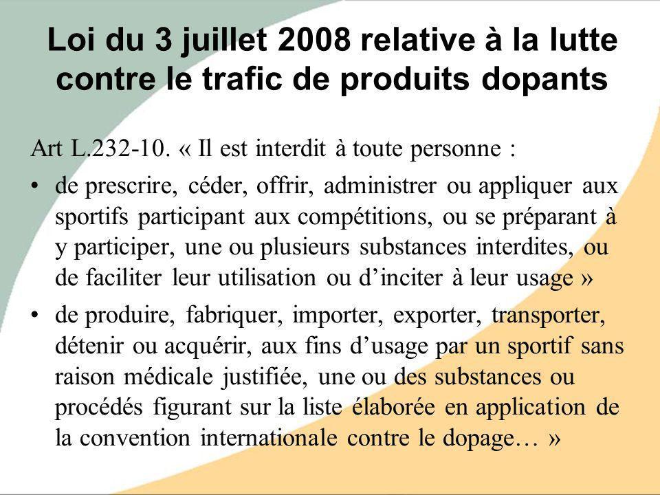 Loi du 3 juillet 2008 relative à la lutte contre le trafic de produits dopants