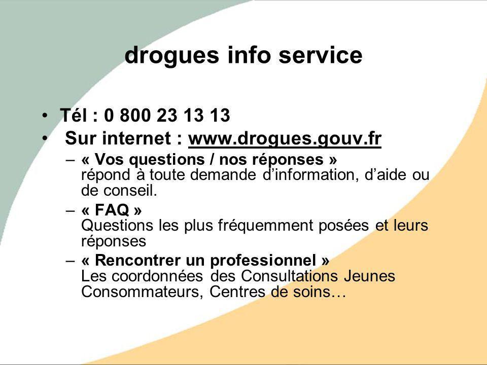 drogues info service Tél : 0 800 23 13 13