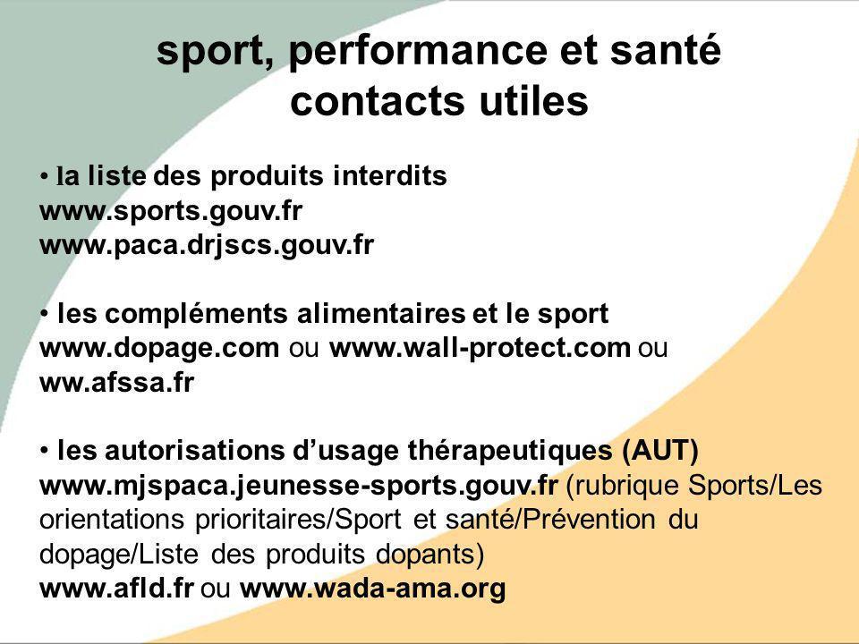 sport, performance et santé contacts utiles