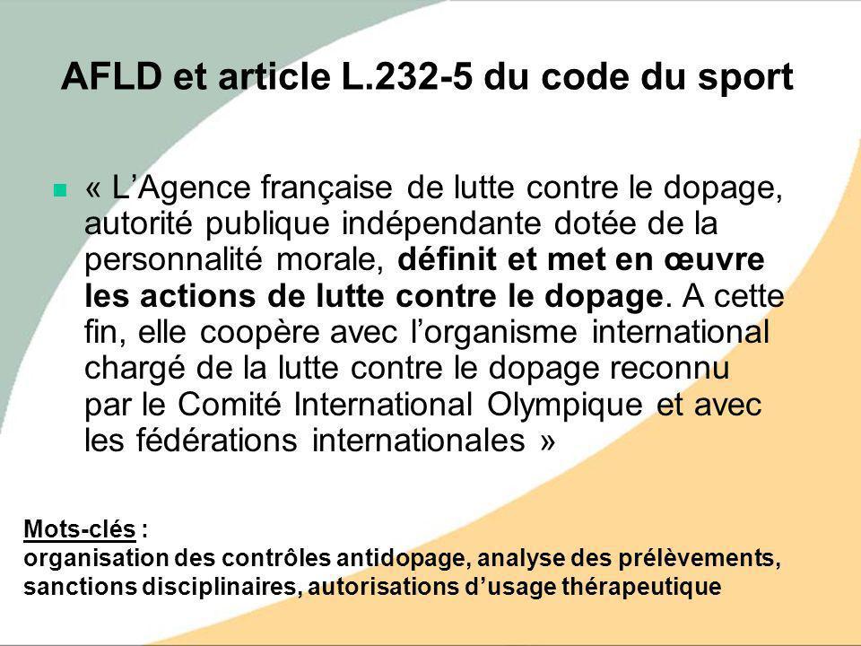 AFLD et article L.232-5 du code du sport
