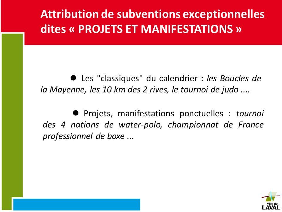 Attribution de subventions exceptionnelles dites « PROJETS ET MANIFESTATIONS »