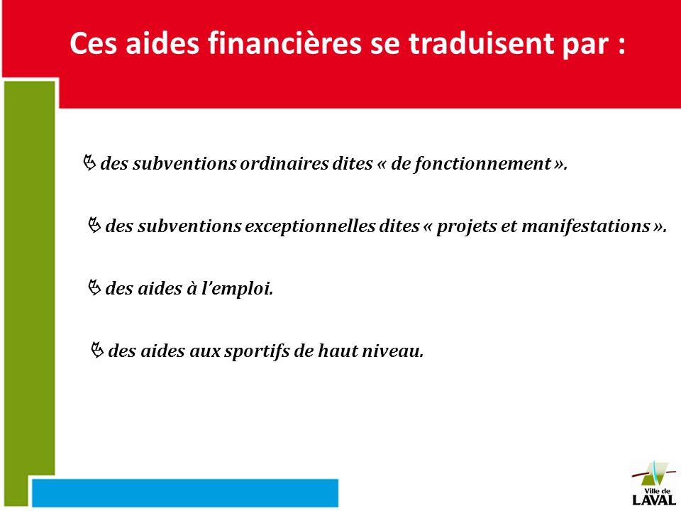 Ces aides financières se traduisent par :