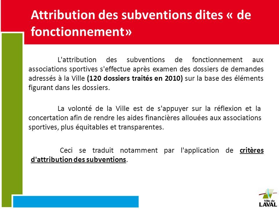 Attribution des subventions dites « de fonctionnement»