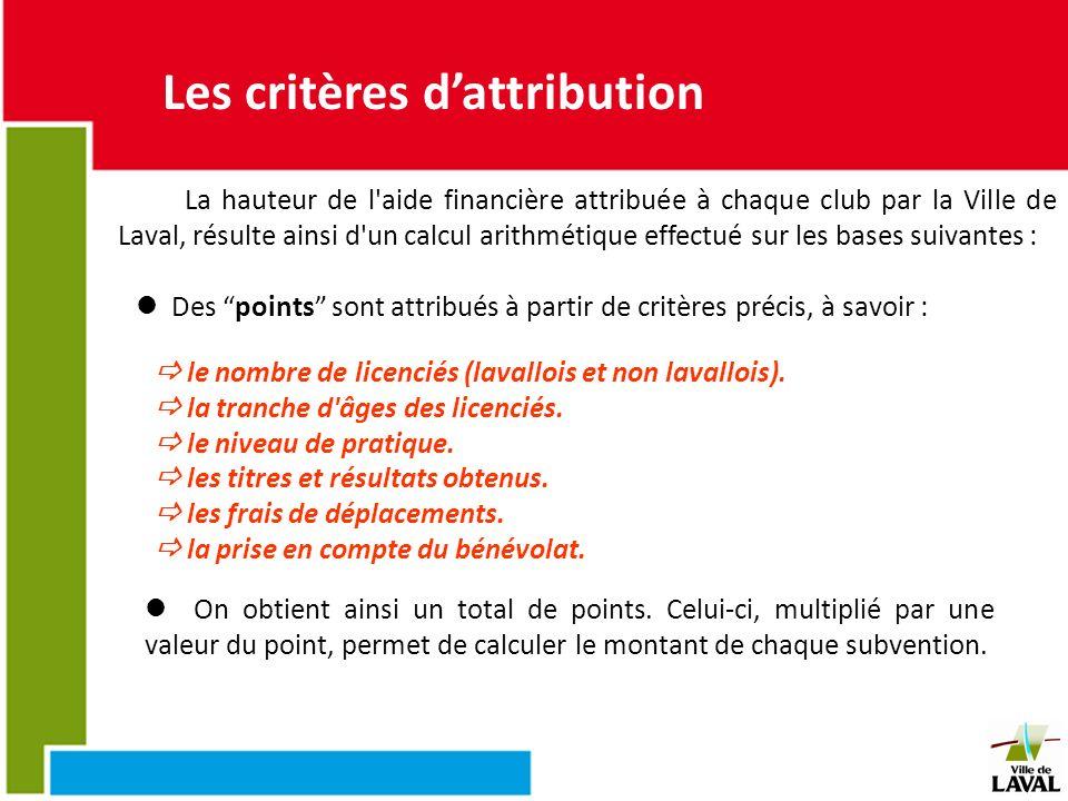 Les critères d'attribution