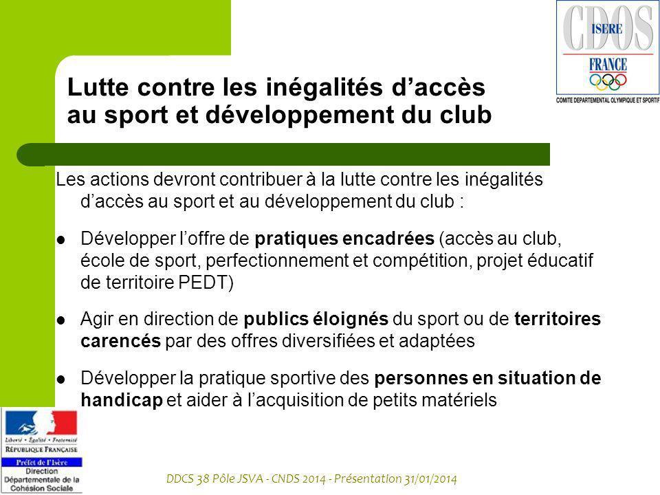 Lutte contre les inégalités d'accès au sport et développement du club