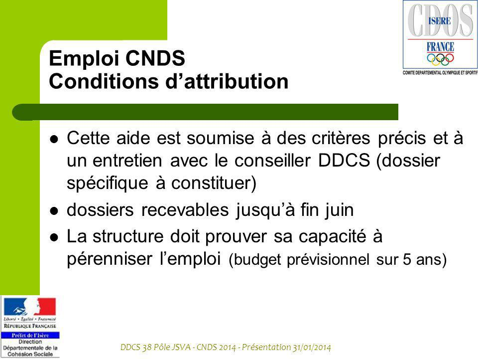 Emploi CNDS Conditions d'attribution